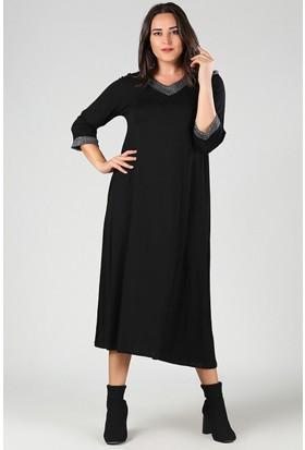 Womenice Siyah Yakası Kol Ucu Simli Elbise