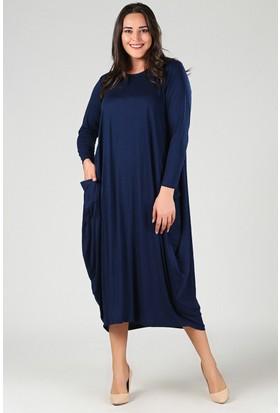 Womenice Lacivert Uzun Kollu Jumbo Elbise