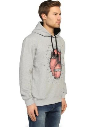 Bant Giyim Attack On Titan Gri Kapüşonlu Erkek Sweatshirt Hoodie