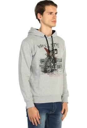 Bant Giyim Motorsiklet Gri Kapüşonlu Erkek Sweatshirt Hoodie