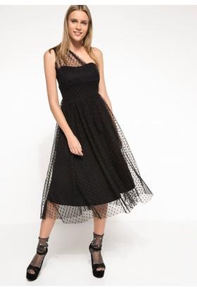 Defacto Kadın Tek Omuz Tül Elbise