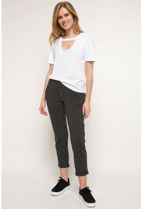 Defacto Kadın Rahat Kesim Çizgili Pantolon