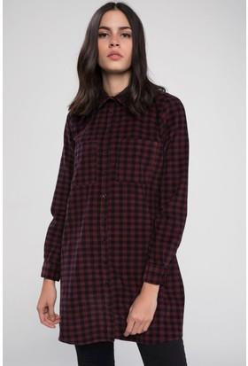 Defacto Kadın Çift Cepli Kareli Desenli Gömlek Tunik