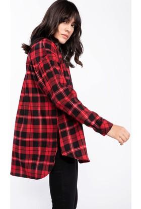 Defacto Kadın Kareli Gömlek Tunik