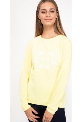Defacto Kadın Uzun Kollu Çiçek Baskılı T-Shirt