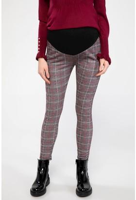 Defacto Kadın Elastik Belli Kareli Slim Fit Hamile Pantolon