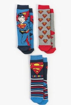 Superman Çocuk 3'lü Havlu Çorap 13658