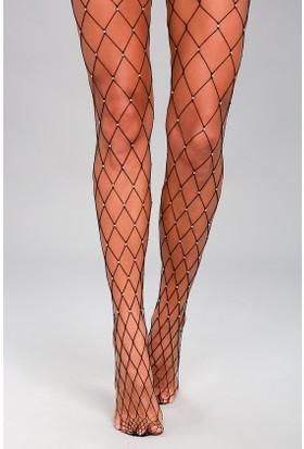 Hane14 Sparkle Fishnet Kristal Taşlı Büyük Fileli Külotlu Çorap Siyah