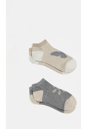 Mavi İkİli Bej Babet Çorap