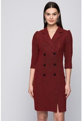İroni Buklet Bordo Blazer Elbise 5166-981