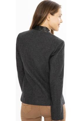 Xint Yakası Derili Fermuarlı Slim Fit Ceket