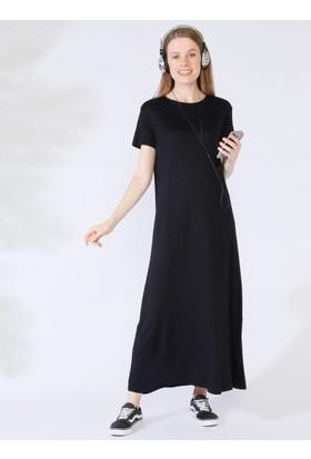 4a3281e81100f ... Everyday Basic 135 cm Doğal Kumaştan Kısa Kollu Elbise - Siyah ...