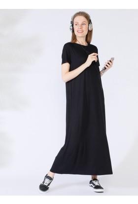 12f636350da40 ... Everyday Basic 135 cm Doğal Kumaştan Kısa Kollu Elbise - Siyah