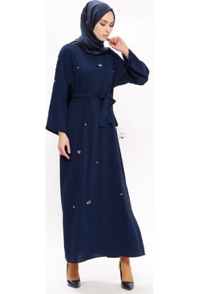 Tuncay Taş Detaylı Kuşaklı Elbise - Lacivert