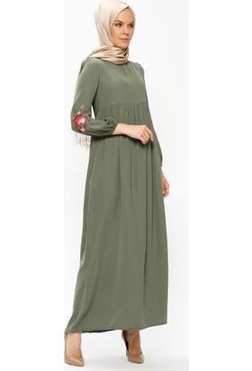 Tuncay Nakış Detaylı Elbise - Haki