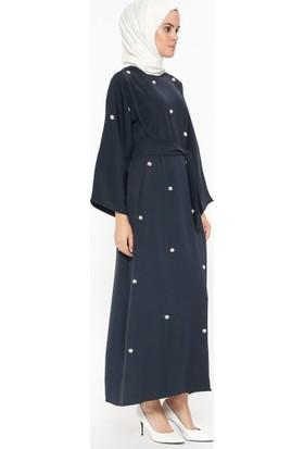 Tuncay Boncuk İşlemeli Elbise - Lacivert