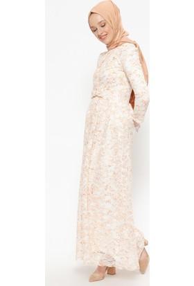 Bürün Dantelli Elbise - Turuncu Ekru