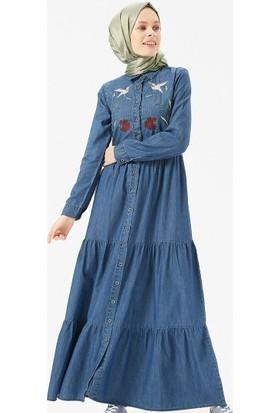 026c7fb881dff ... Benin Doğal Kumaşlı Nakışlı Kot Elbise - Koyu Mavi ...