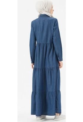 904c264ec64db Benin Doğal Kumaşlı Düğmeli Kot Elbise - Koyu Mavi ...
