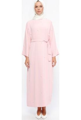Tuncay Boncuk İşlemeli Elbise - Pudra