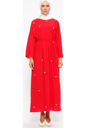 Tuncay İncili Elbise - Kırmızı