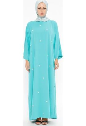 Tuncay Boncuk İşlemeli Elbise - Su Yeşili