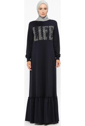 Ginezza Taşlı İncili Elbise - Lacivert