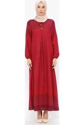 Ginezza Çizgili Elbise - Fuşya