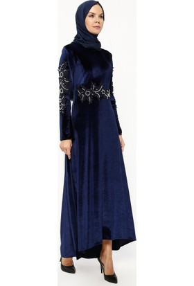 Bürün Güpür Detaylı Kadife Elbise - İndigo