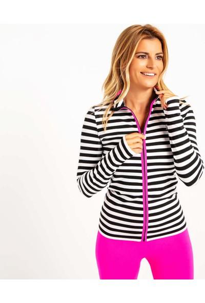 Fit21 Siyah Beyaz Çizgili Sweatshirt Neon Pembe Şerit