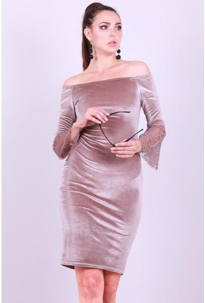 Modamoss Kolu Tül Kadife Elbise Bej 206