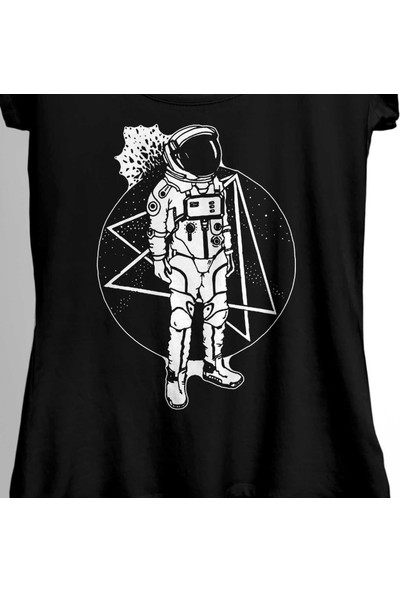 Kendim Seçtim Uçan Astronot Uzay Cosmos Space Galaksi Gezegen Kadın Tişört