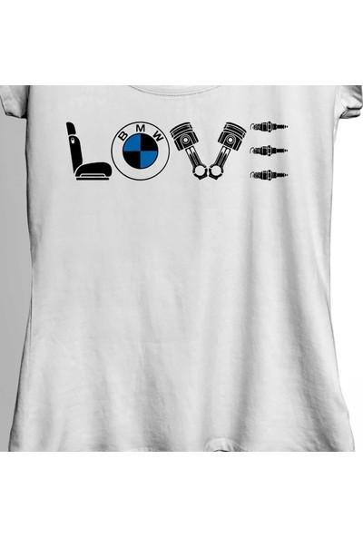 Kendim Seçtim Bmw M Power Sport Buji Piston Bobin Love My Bmw Kadın Tişört