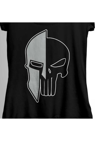 Kendim Seçtim The Punisher 300 Spartan Mask Cezalandırıcı Kadın Tişört