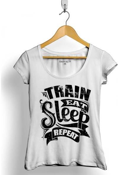 Kendim Seçtim Eat Sleep Train Repeat Yemek Uyku Tren Yolculuk Kadın Tişört