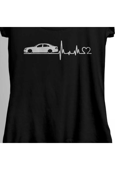 Kendim Seçtim Mercedes Benz W211 Kalp Ritim Amg Sport Kadın Tişört
