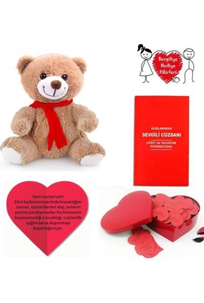 Soufeel Sevgiliye 365 Gün Kalpli Aşk Notları Sevgili Cüzdanı Ve Peluş Ayı Hediye Paketi