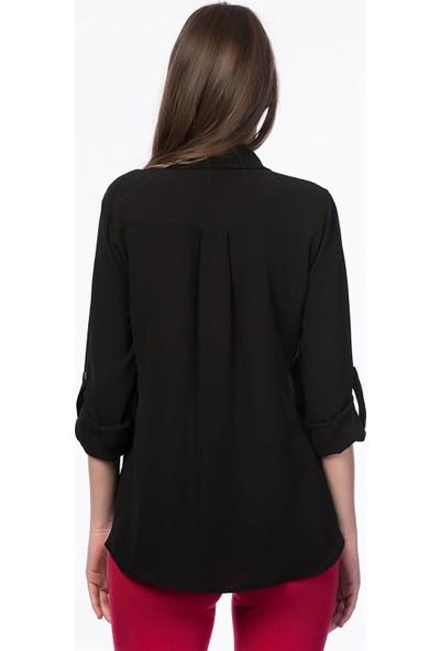 Lafaba Cebi Şerit Taşlı Siyah Gömlek