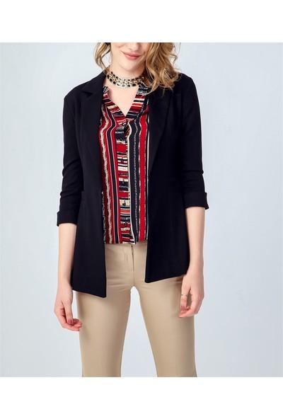 ADR Kadın Yakalı Kaprikol Kumaş Blazer Ceket