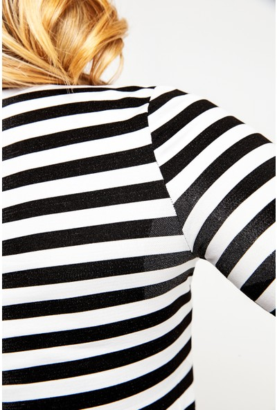 Fit21 Siyah Beyaz Çizgili Sweatshirt Siyah Şerit