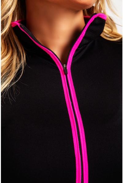 Fit21 Siyah Swatshirt Neon Pembe Şerit
