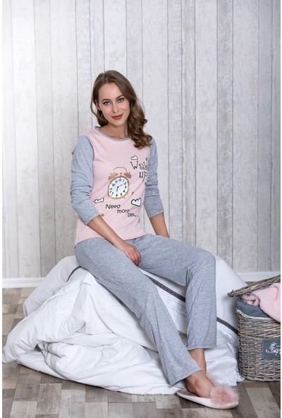 Lingabooms 1025 Kadın Pijama Kışlık Saatli Üst Pantolon 2'li Takım