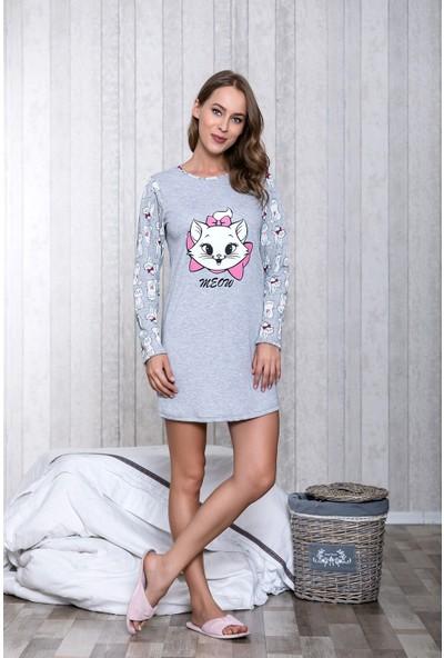 Lingabooms Kedi Baskılı Kadın Gecelik LB6005