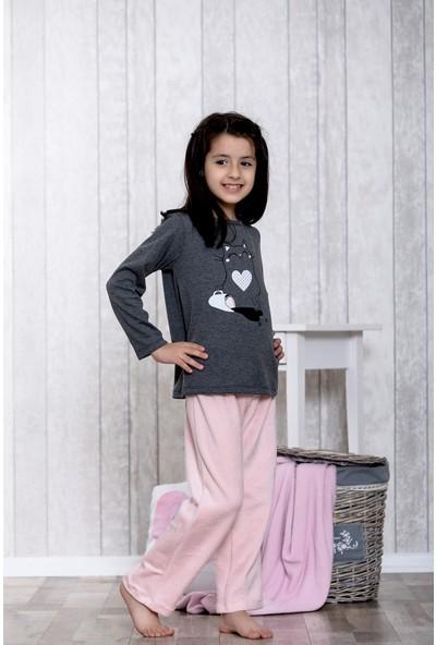 Lingabooms Kalpli Kedi Baskılı 2'li Çocuk Pijama Takım LB3026