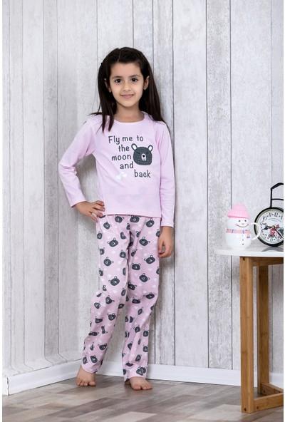 Lingabooms Ayıcık Desenli Kalpli 2'li Çocuk Pijama Takım LB3029