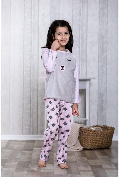 Lingabooms Ayıcık Desenli Kalpli 2'li Çocuk Pijama Takım LB3030