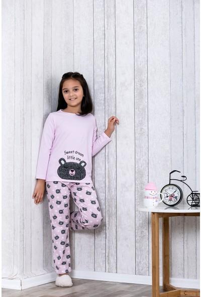 Lingabooms Ayıcık Desenli Kalpli 2'li Çocuk Pijama Takım LB3031