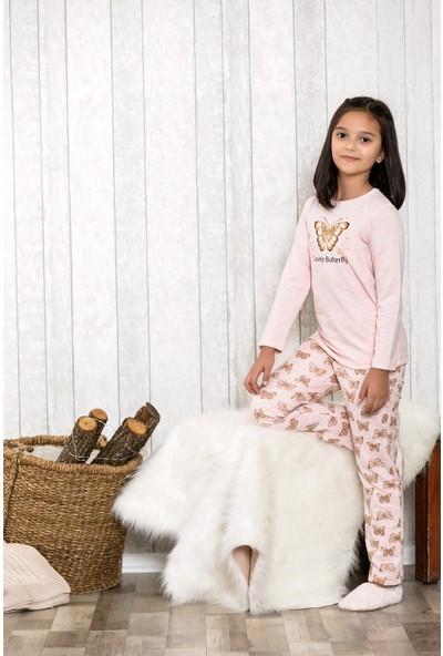 Lingabooms Altın Kelebek Baskılı 2'li Çocuk Pijama Takım LB3032