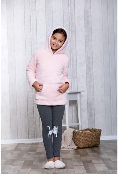 Lingabooms Kedili Bulut Nakışlı 2'li Çocuk Pijama Takım LB3038