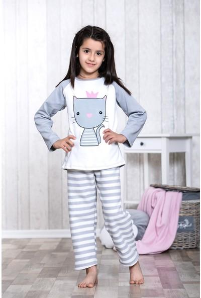 Lingabooms Taçlı Kedi Baskılı 2'li Çocuk Pijama Takım LB3044